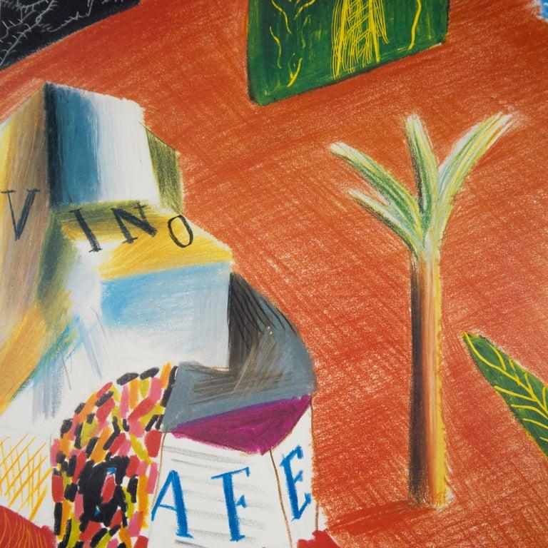 Vintage David Hockney Poster Miami New World Festival of Arts 1982 palm trees - Realist Print by (after) David Hockney