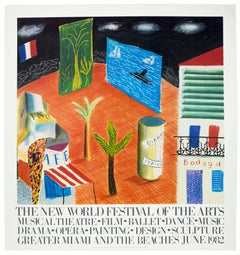 Vintage David Hockney Poster Miami New World Festival of Arts 1982 palm trees