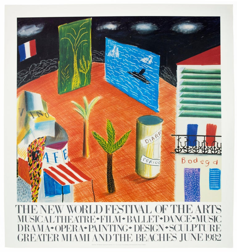 (after) David Hockney Landscape Print - Vintage David Hockney Poster Miami New World Festival of Arts 1982 palm trees