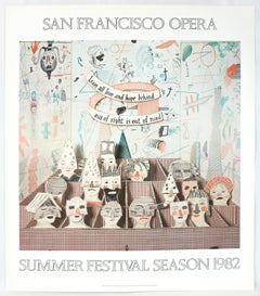 Vintage David Hockney Poster San Francisco Opera 1982, whimsical color drawings