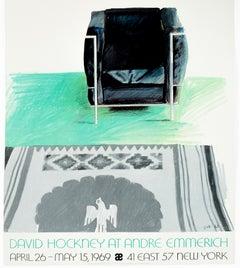 Vintage turquoise '69 David Hockney Exhibition Poster Kilim southwest rug