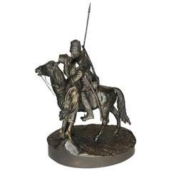 After E. Lancere, Farewell Kiss, Bronze Sculpture by A.M. Bonegor, ca. 1900