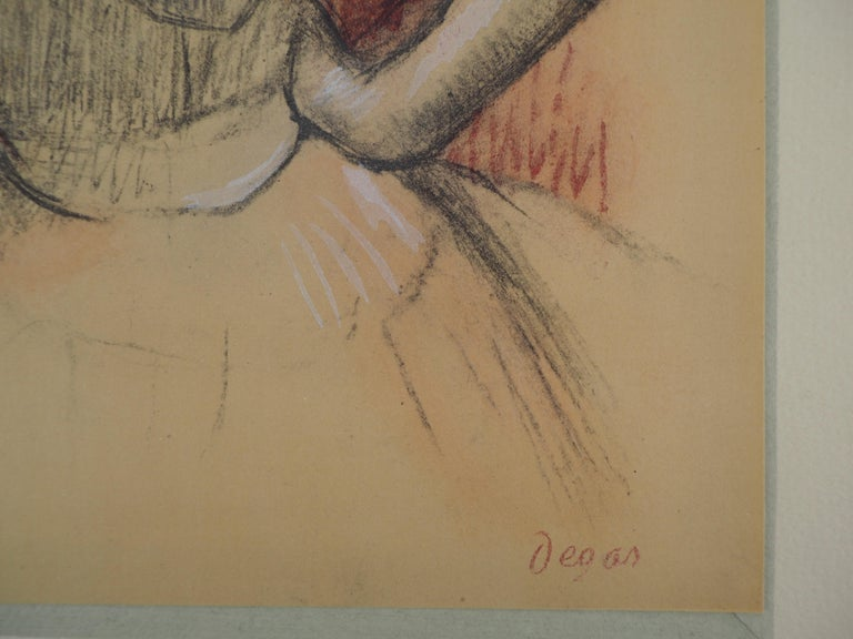 Ballerina Adjusting her Dress - Lithograph and Watercolor stencil - Print by (after) Edgar Degas