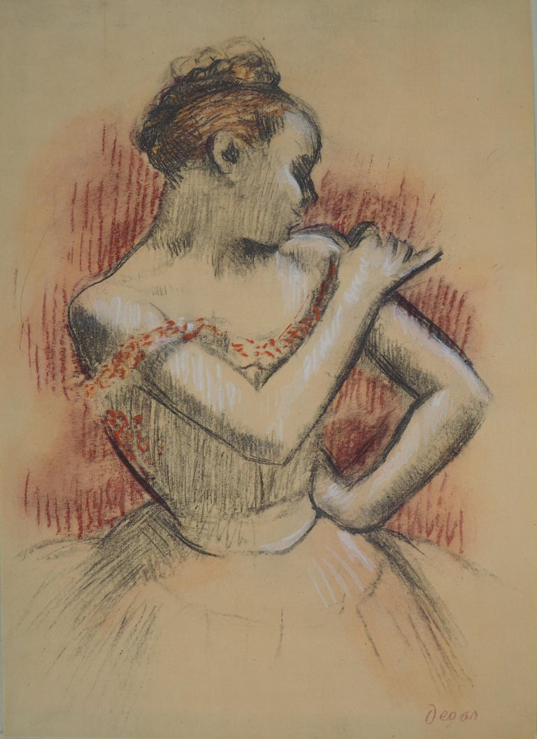 Ballerina Adjusting her Dress - Lithograph and Watercolor stencil - Impressionist Print by (after) Edgar Degas