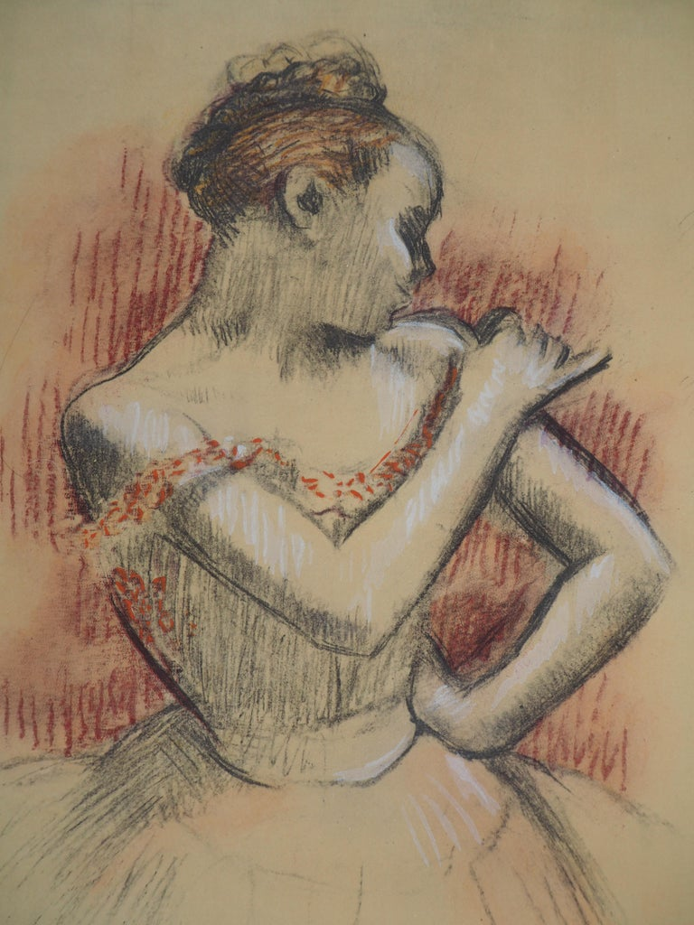Ballerina Adjusting her Dress - Lithograph and Watercolor stencil - Brown Figurative Print by (after) Edgar Degas