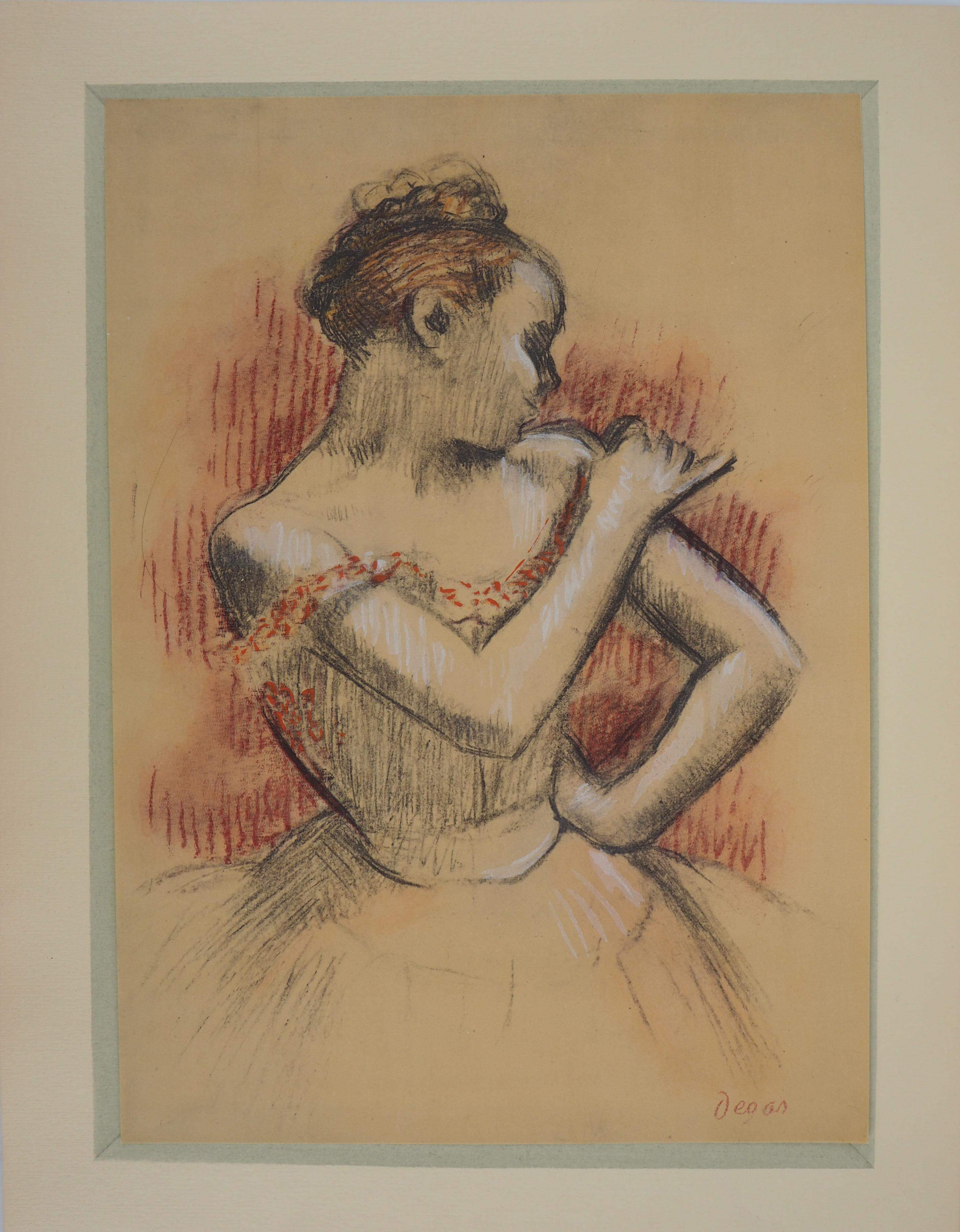 Ballerina Adjusting her Dress - Lithograph and Watercolor stencil