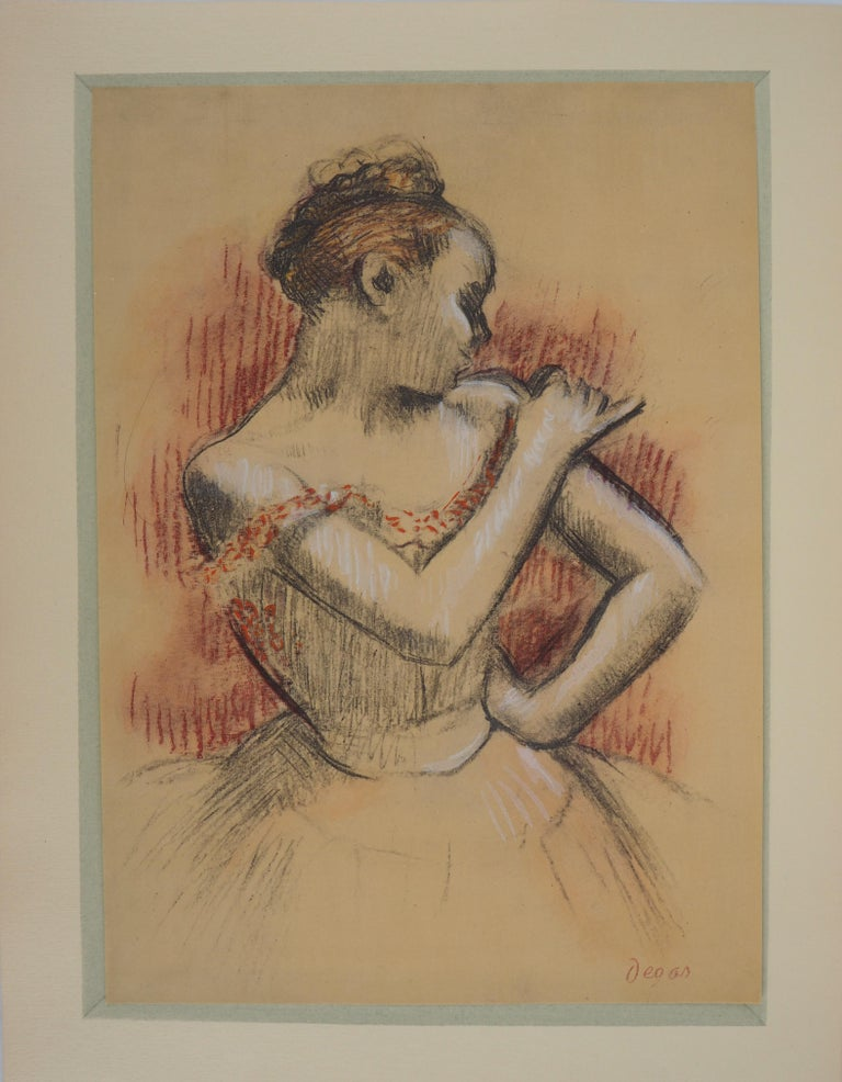 (after) Edgar Degas Figurative Print - Ballerina Adjusting her Dress - Lithograph and Watercolor stencil