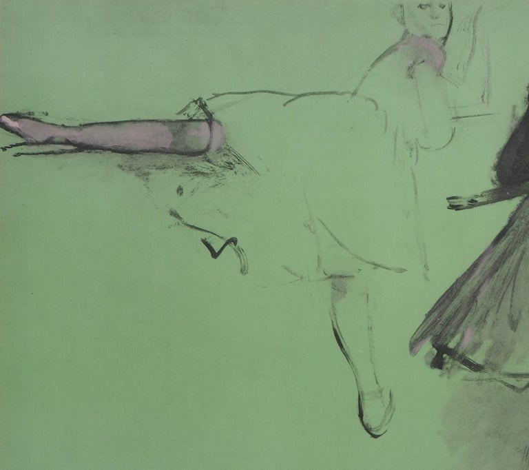 Ballerinas at Training  - Lithograph and Watercolor stencil - Impressionist Print by (after) Edgar Degas