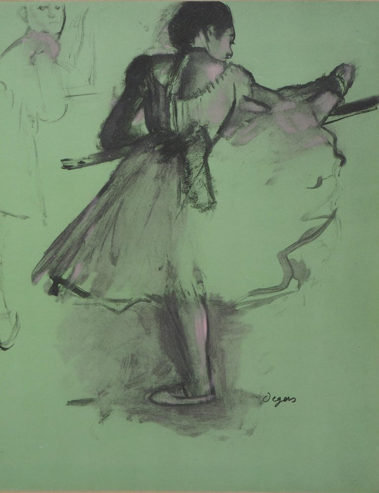 Ballerinas at Training  - Lithograph and Watercolor stencil - Gray Figurative Print by (after) Edgar Degas