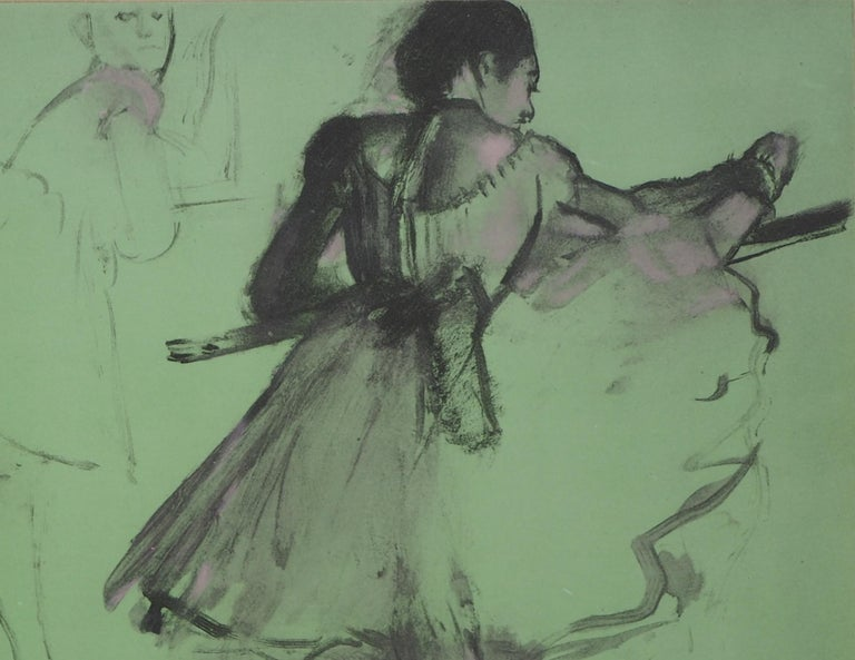 Edgar DEGAS (after) Ballerinas at training  Lithograph and Watercolor stencil Printed signature in the plate  On thin vellum 25 x 35 cm (c. 10 x 14 inch) Edited by Jacomet in 1957 and limited to 600 unumbered copies ; bearing the blind stamp of the
