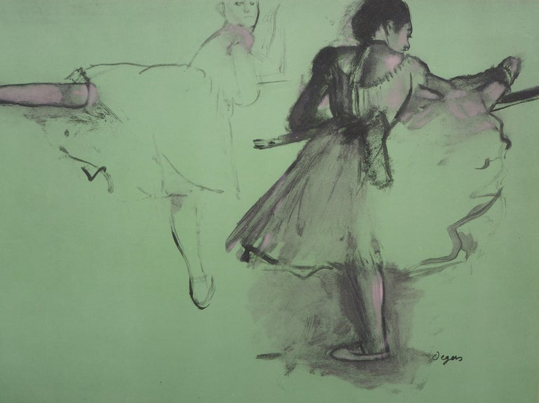 Ballerinas at Training  - Lithograph and Watercolor stencil For Sale 1