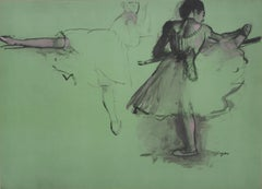 Ballerinas at Training  - Lithograph and Watercolor stencil