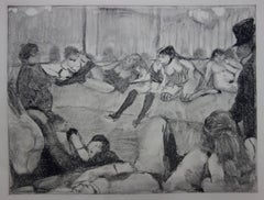 Client Arriving in a Whorehouse - Original etching