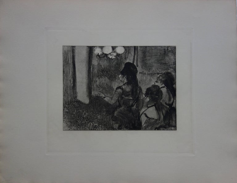 Three Women in a Saloon - Original etching - Print by (after) Edgar Degas