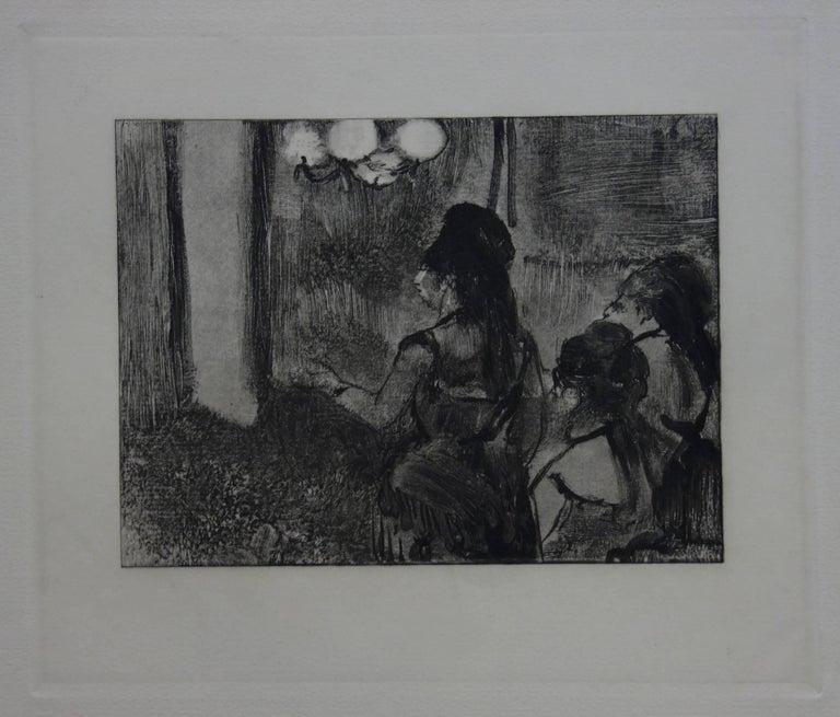 Three Women in a Saloon - Original etching - Modern Print by (after) Edgar Degas