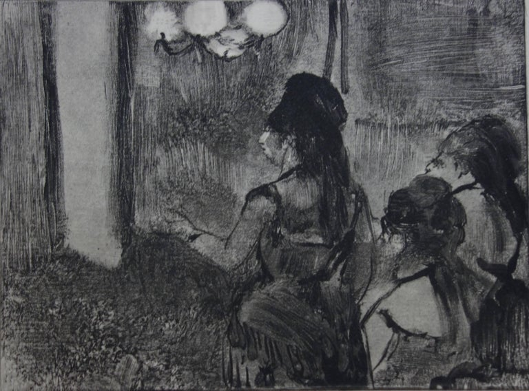 Three Women in a Saloon - Original etching - Gray Figurative Print by (after) Edgar Degas
