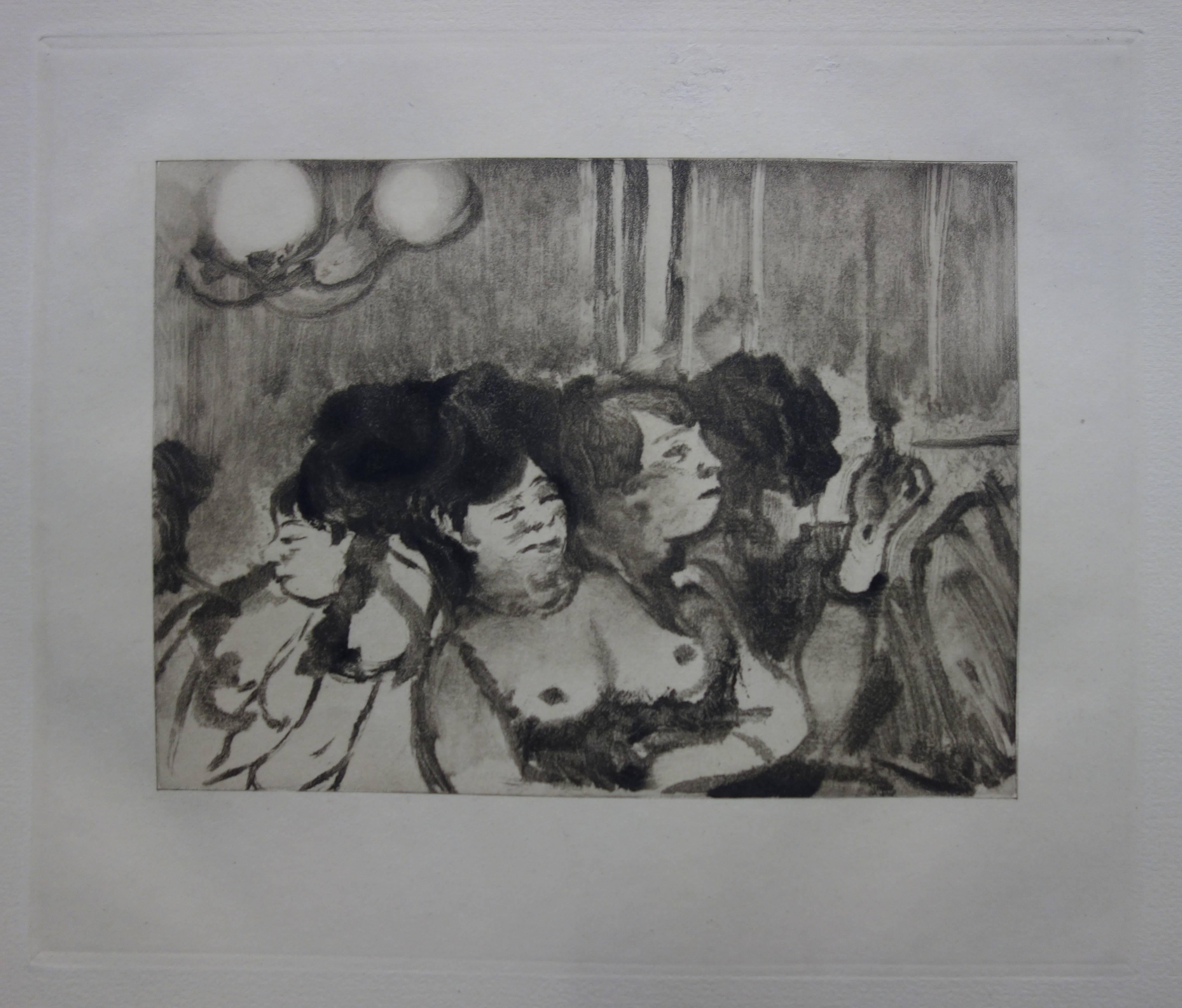 Waiting for a Client - Original etching