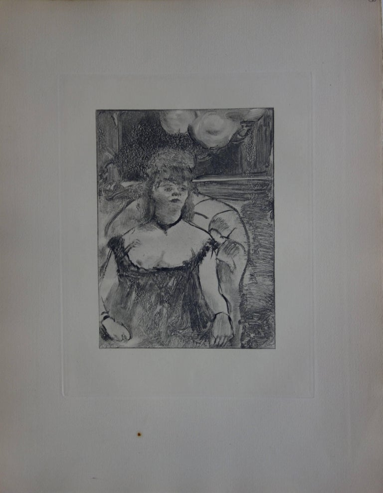 Whorehouse Scene : A Gorgeous Woman - Original etching - Print by (after) Edgar Degas