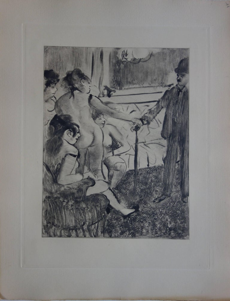 Whorehouse Scene : A Shy Client - Original etching - Print by (after) Edgar Degas