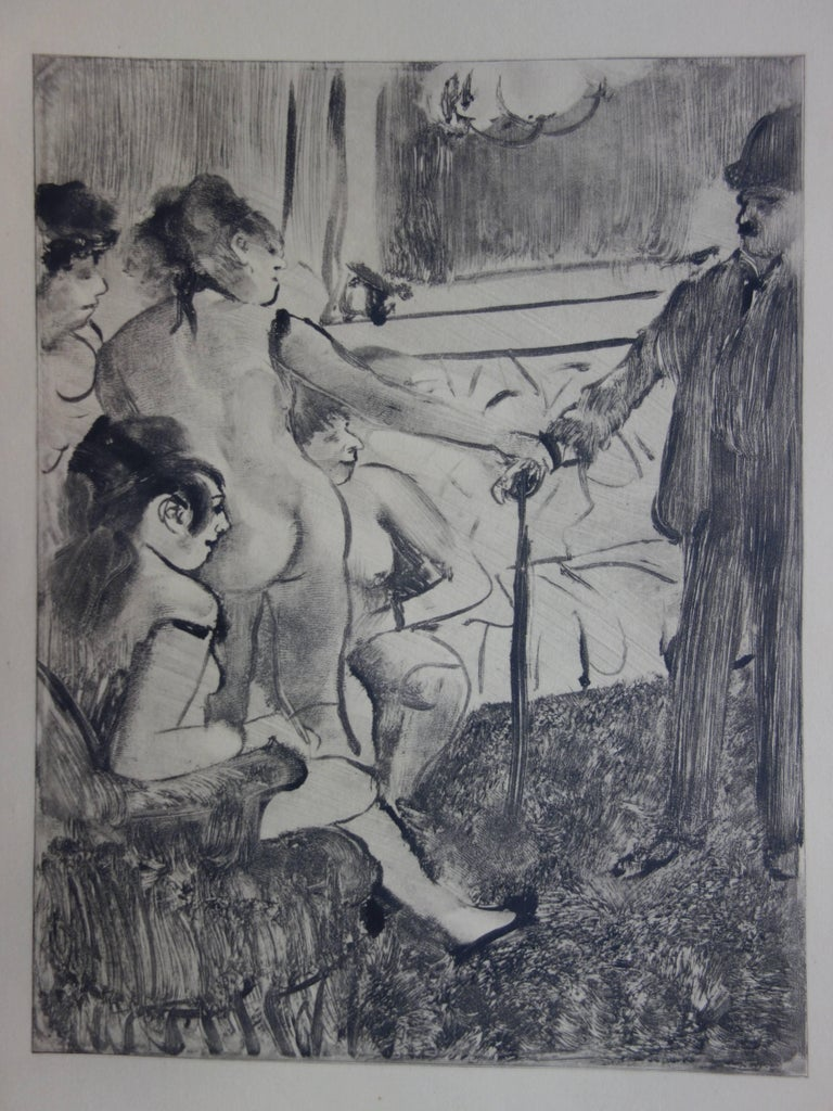 Whorehouse Scene : A Shy Client - Original etching - Modern Print by (after) Edgar Degas