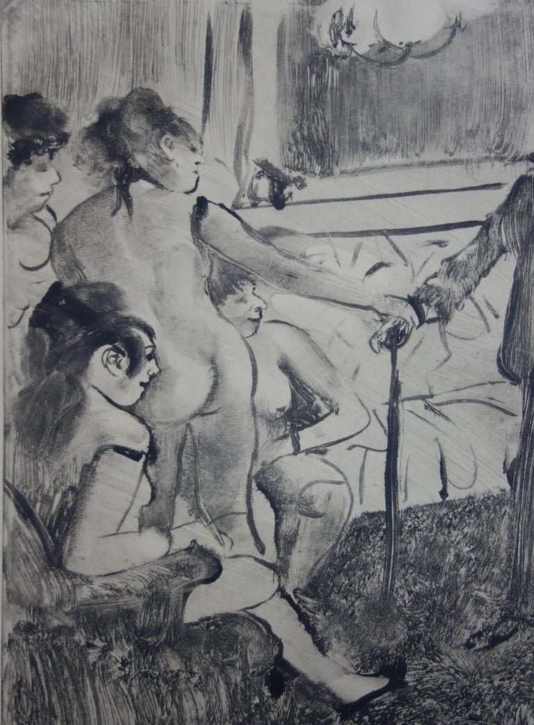 Whorehouse Scene : A Shy Client - Original etching - Gray Figurative Print by (after) Edgar Degas