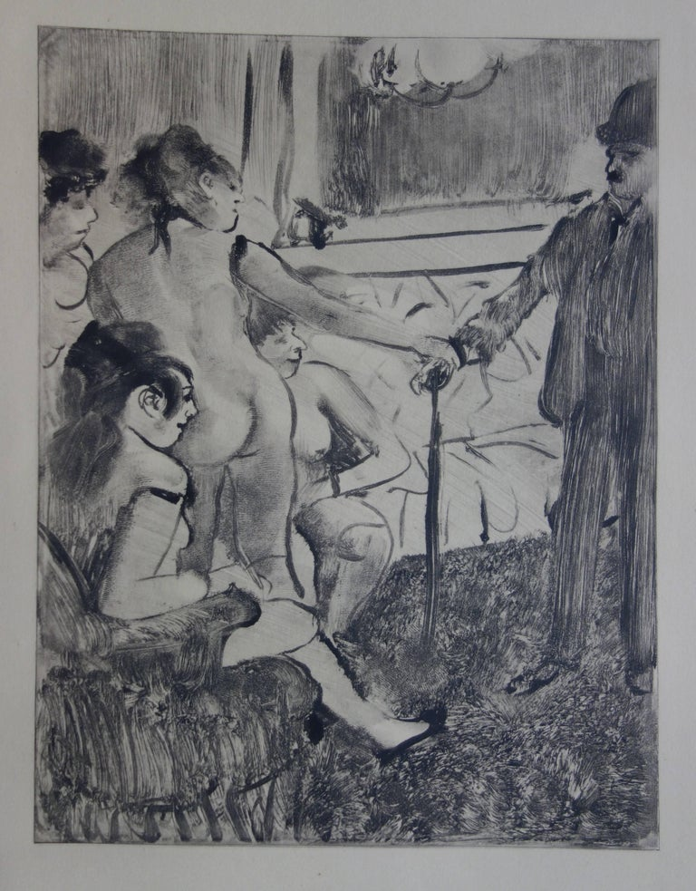 (after) Edgar Degas Figurative Print - Whorehouse Scene : A Shy Client - Original etching