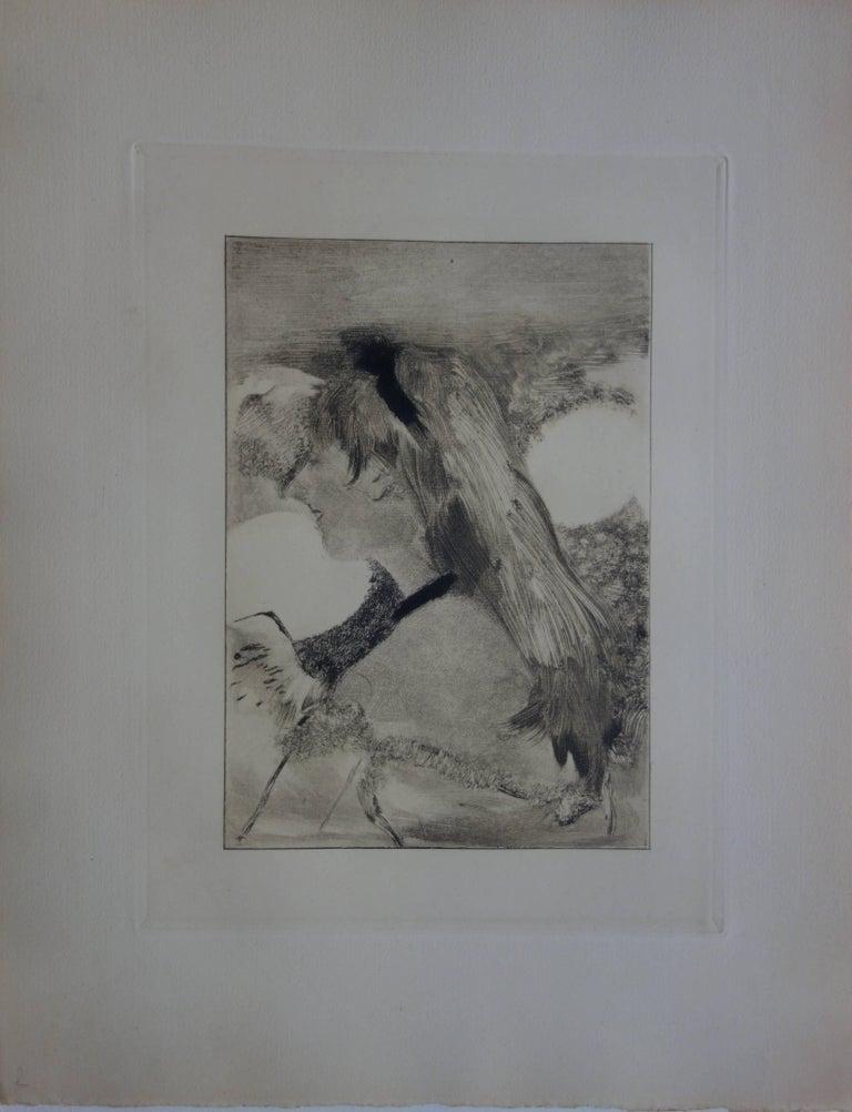 Whorehouse Scene : Blond Hair Girl - Original etching - Print by (after) Edgar Degas