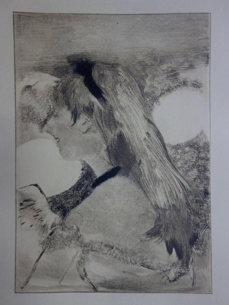 (after) Edgar Degas Figurative Print - Whorehouse Scene : Blond Hair Girl - Original etching