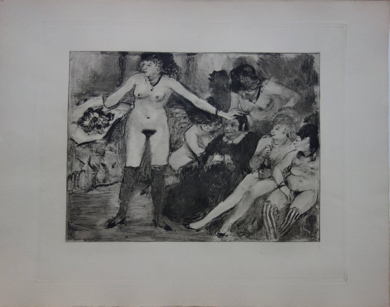 Whorehouse Scene : Celebration for Madam Mother - etching - Print by (after) Edgar Degas