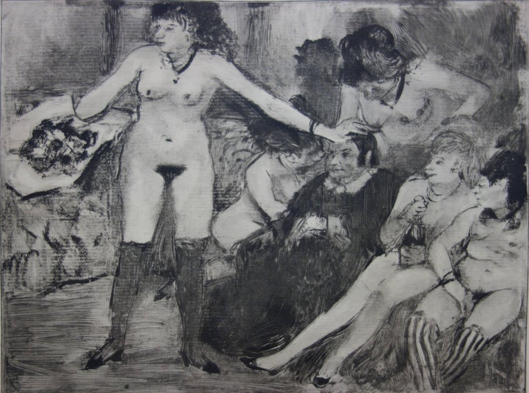 Whorehouse Scene : Celebration for Madam Mother - etching - Modern Print by (after) Edgar Degas