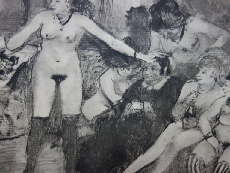 Whorehouse Scene : Celebration for Madam Mother - etching - Gray Figurative Print by (after) Edgar Degas