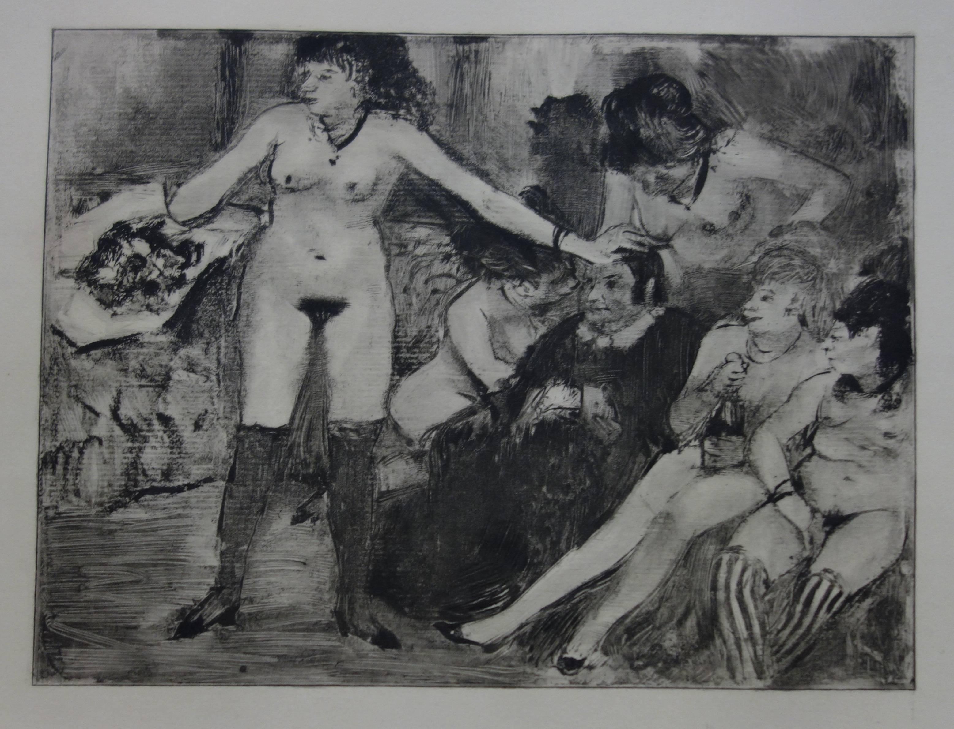 Whorehouse Scene : Celebration for Madam Mother - etching