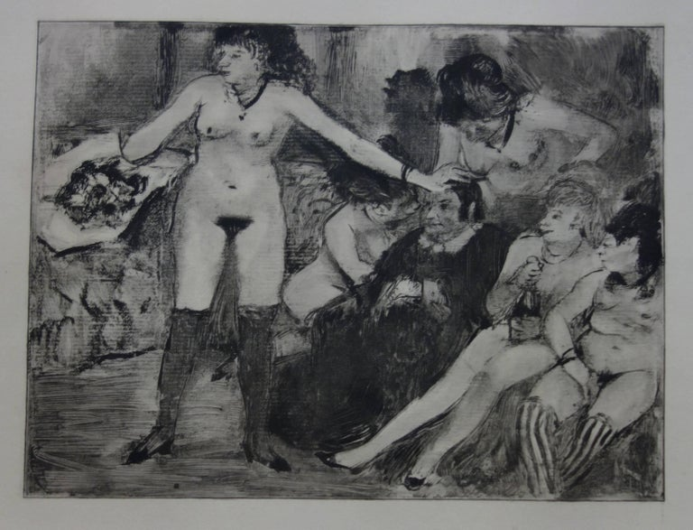 (after) Edgar Degas Figurative Print - Whorehouse Scene : Celebration for Madam Mother - etching