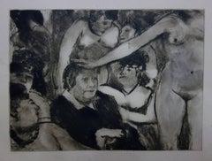 Whorehouse Scene : Madam Mother and her Girls - Original etching