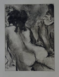 Whorehouse Scene : Model with Arched Back - Original etching