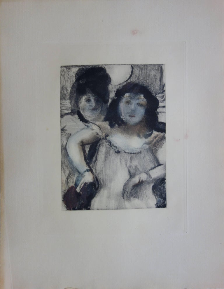 Whorehouse Scene : Prostitues with Make-up - Original etching - Print by (after) Edgar Degas
