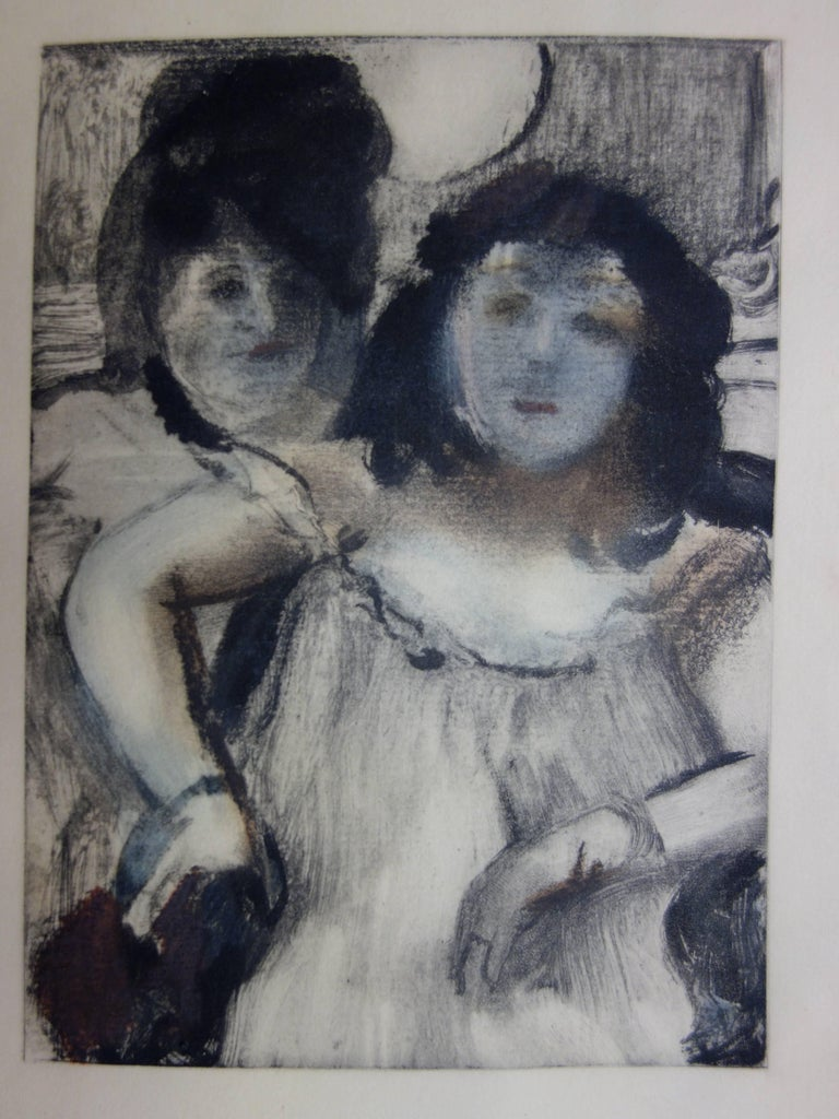 (after) Edgar Degas Figurative Print - Whorehouse Scene : Prostitues with Make-up - Original etching