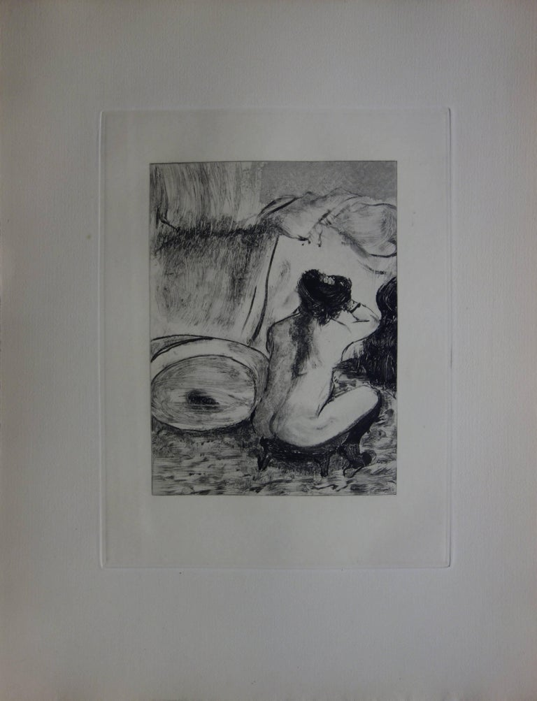 Whorehouse Scene : Prostitute Dressing her Hair - Original etching - Print by (after) Edgar Degas