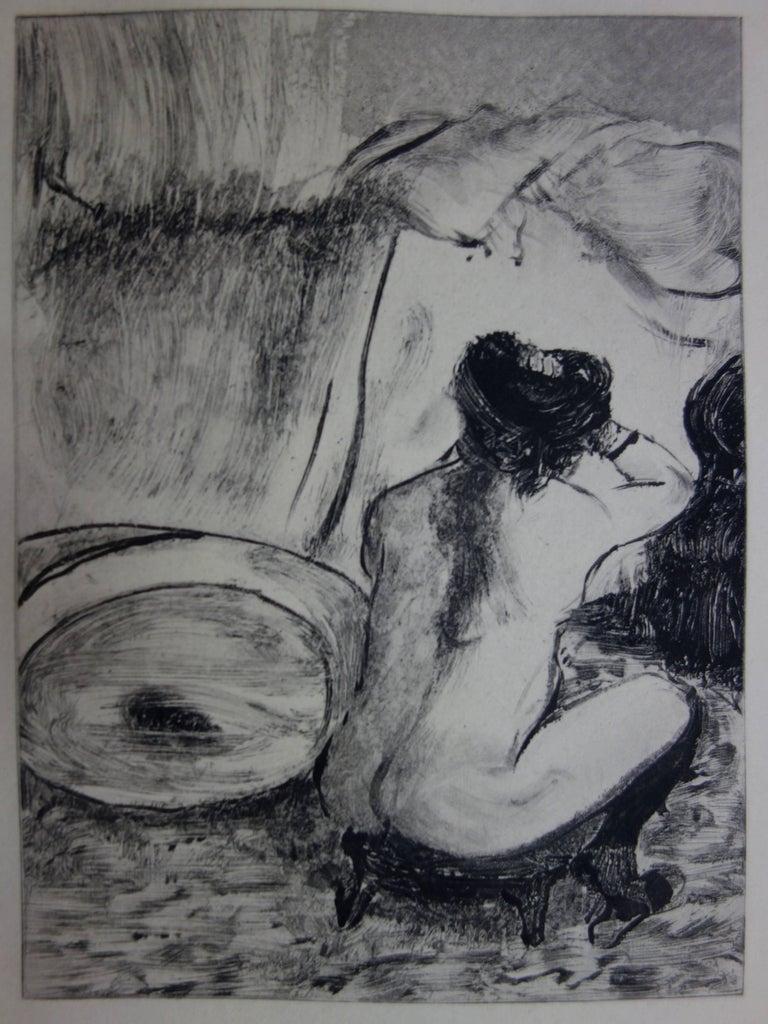 Whorehouse Scene : Prostitute Dressing her Hair - Original etching - Modern Print by (after) Edgar Degas