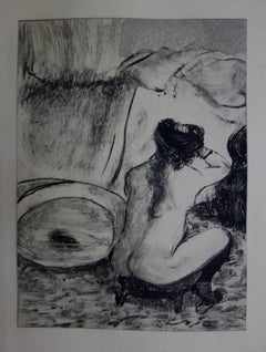 Whorehouse Scene : Prostitute Dressing her Hair - Original etching