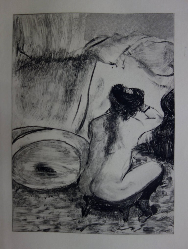 (after) Edgar Degas Figurative Print - Whorehouse Scene : Prostitute Dressing her Hair - Original etching