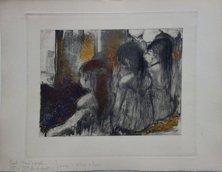 Whorehouse Scene : Prostitutes in Nightie - Original etching - Print by (after) Edgar Degas