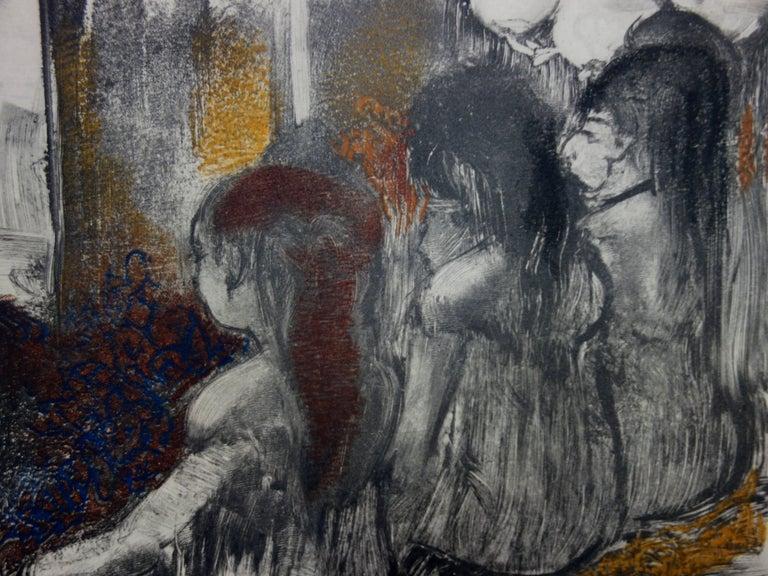 Whorehouse Scene : Prostitutes in Nightie - Original etching - Modern Print by (after) Edgar Degas