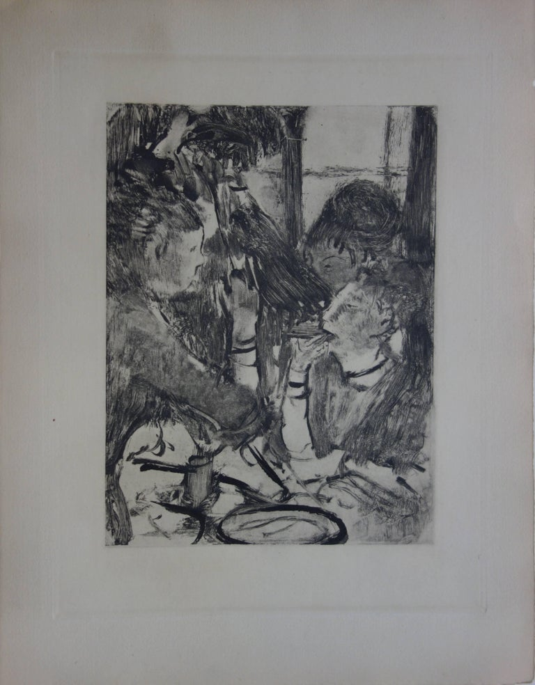 Whorehouse Scene : Prostitutes Sharing a Meal - Original etching - Print by (after) Edgar Degas