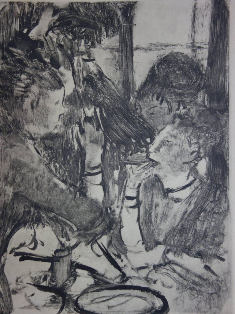 Whorehouse Scene : Prostitutes Sharing a Meal - Original etching - Modern Print by (after) Edgar Degas