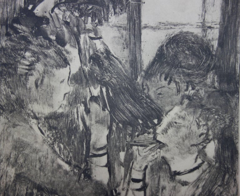 Whorehouse Scene : Prostitutes Sharing a Meal - Original etching - Gray Figurative Print by (after) Edgar Degas