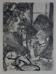 Whorehouse Scene : Prostitutes Sharing a Meal - Original etching