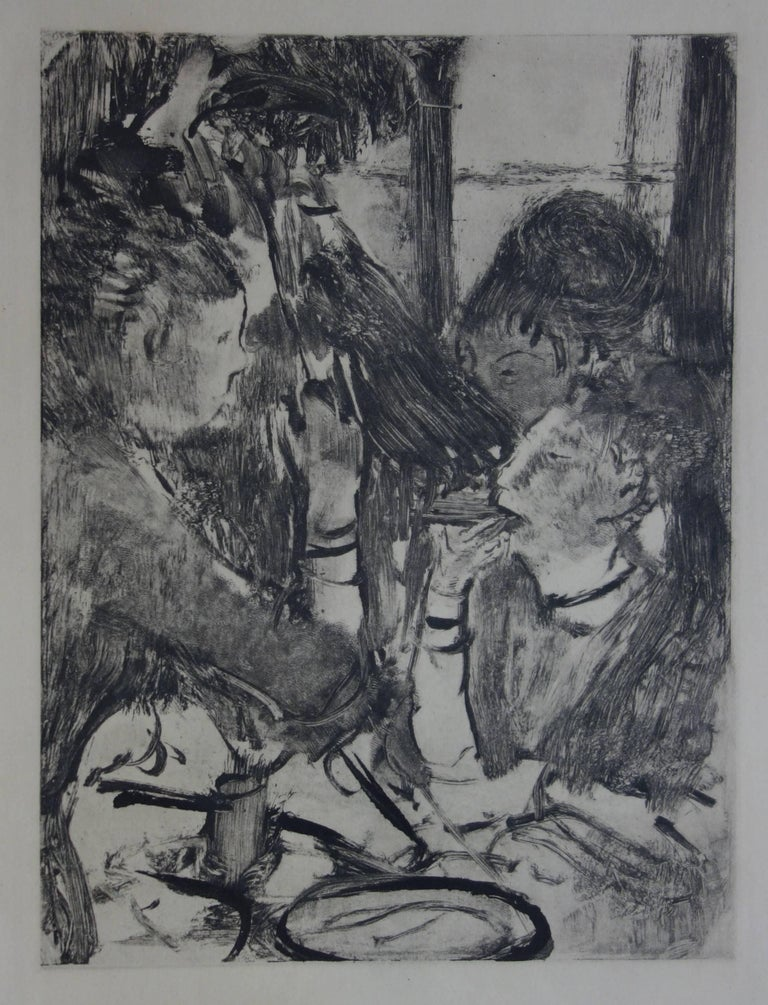 (after) Edgar Degas Figurative Print - Whorehouse Scene : Prostitutes Sharing a Meal - Original etching