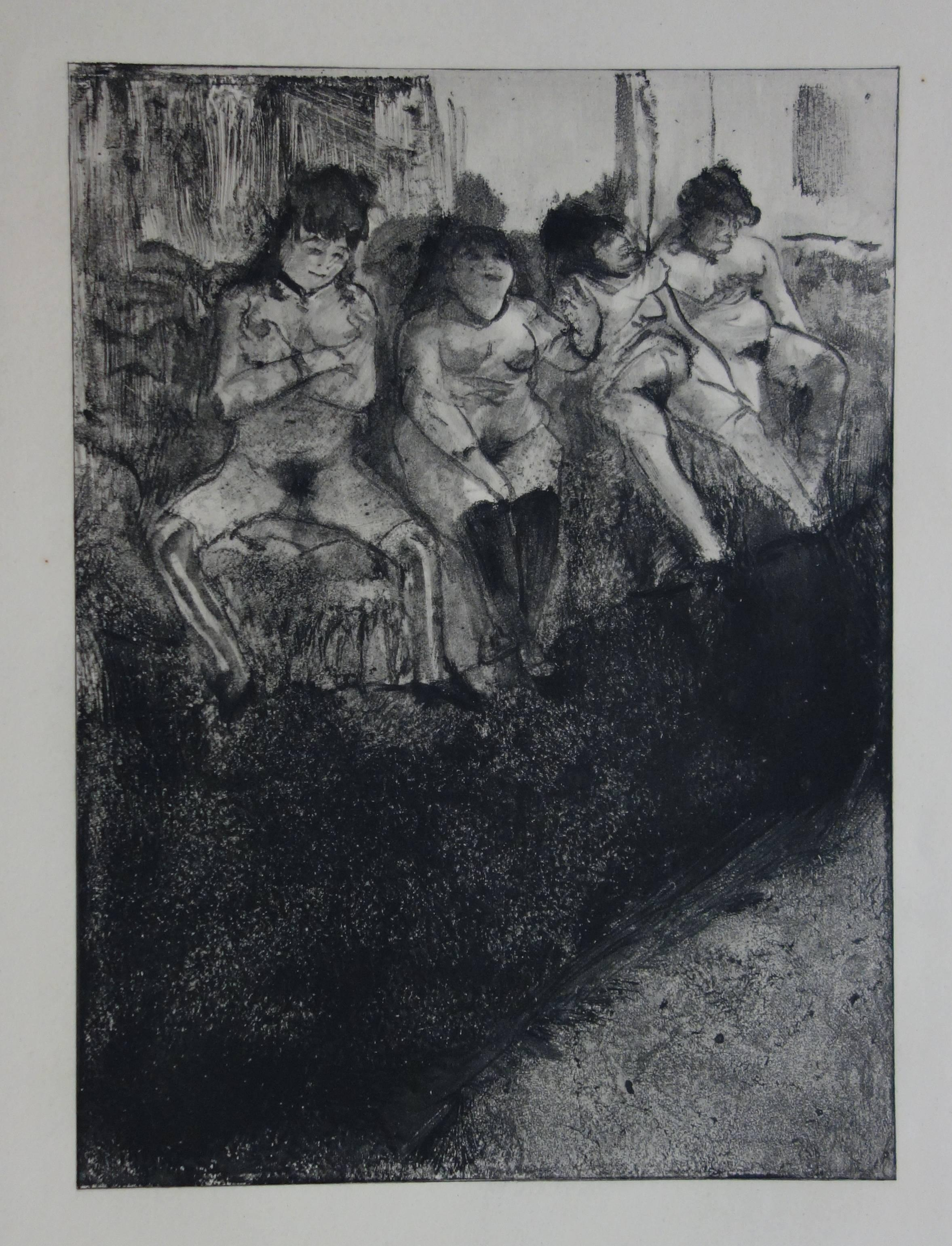 Whorehouse Scene : Shy and Challenging Prostitutes - Original etching
