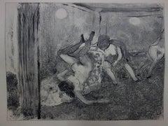Whorehouse Scene : The Drunk Prostitutes - Original etching